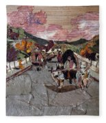 Bullock Cart On Bridge Fleece Blanket