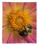Bumble Bee Dahlia Fleece Blanket