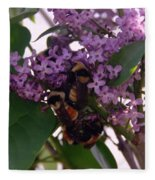 Bumble Bees In Flowers Fleece Blanket