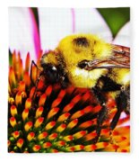 Bumblebee On Echinacea  Fleece Blanket
