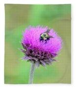 Bumblebee On Thistle 2013 Fleece Blanket