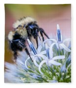 Bumblebee On Thistle Blossom Fleece Blanket