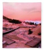 Bumpass Hell Sunset Fleece Blanket