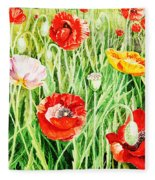 Bunch Of Poppies II Fleece Blanket