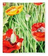 Bunch Of Poppies IIi Fleece Blanket