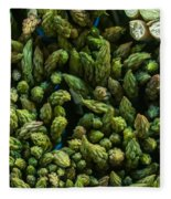 Bunches Of Asparagus On Display At The Farmers Market Fleece Blanket