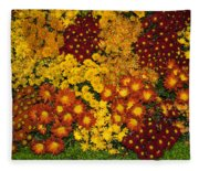 Bunches Of Yellow Copper Orange Red Maroon - Hot Autumn Abundance Fleece Blanket