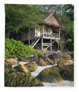 Bungalow In Koh Rong Island Beach In Cambodia Fleece Blanket