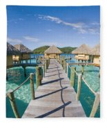 Bungalows Over Ocean Fleece Blanket