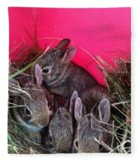 Bunnies In Pink Fleece Blanket