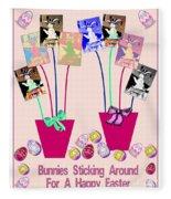 Bunnies Sticking Around For Easter Fleece Blanket