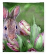 Bunny In The Tulips Fleece Blanket