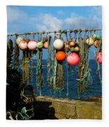 Buoys And Pots In Sennen Cove Fleece Blanket