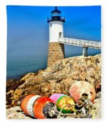 Buoys At The Headlight Fleece Blanket