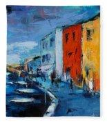 Burano Canal - Venice Fleece Blanket