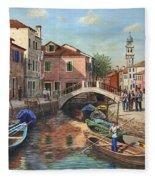 Burano Canal Venice Fleece Blanket