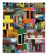 Burano Italy Collage Fleece Blanket