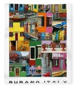 Burano Italy Poster Fleece Blanket