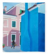 Burano Venice Street Scene Fleece Blanket