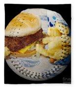Burger And Fries Baseball Square Fleece Blanket