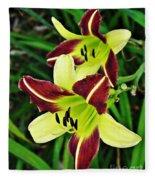 Burgundy And Yellow Lilies 2 Fleece Blanket