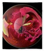 Burgundy Orchids In A Glass Globe Fleece Blanket