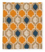 Burlap Blue And Orange Design Fleece Blanket