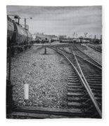 Burlington Vermont Train Yard Vintage Grunge Black And White Fleece Blanket