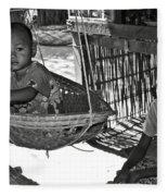 Burmese Mother And Son Fleece Blanket