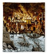 Burning Of The Royal Library Fleece Blanket