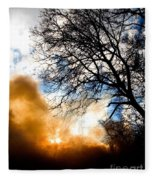 Burning Olive Tree Cuttings Fleece Blanket