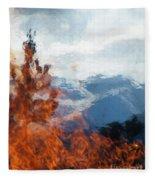 Burning The Winter Blues Away Fleece Blanket