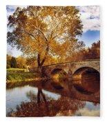 Burnside Bridge At Autumn Sunset Fleece Blanket