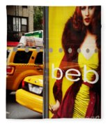 Bus Poster With Taxis - New York Fleece Blanket