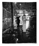 Bus Stop In The Rain Fleece Blanket