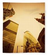 Business Architecture Skyscrapers In London Uk Golden Tint Fleece Blanket