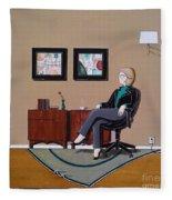 Businesswoman Sitting In Chair Fleece Blanket