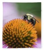 Busy Bee On Cone Flower Fleece Blanket