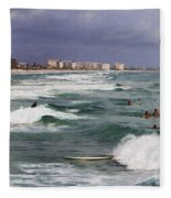 Busy Day In The Surf Fleece Blanket