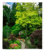 Butchart Gardens Pathway Fleece Blanket