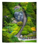 Butchart Gardens Stairs Fleece Blanket