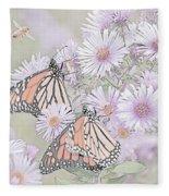 Butterflies And Bee Fleece Blanket