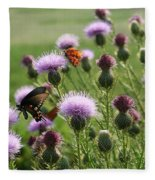Butterflies And Bull Thistle Wildflowers Fleece Blanket