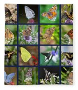 Butterflies Squares Collage Fleece Blanket