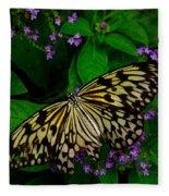 Butterfly - Yellow Green Purple Fleece Blanket