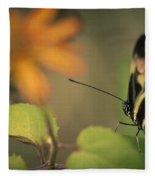 Butterfly And Flower Fleece Blanket
