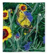 Butterfly And Wildflowers Spring Floral Garden Floral In Green And Yellow - Square Format Image Fleece Blanket