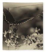 Butterfly Black 06 In Heirloom Finish Fleece Blanket
