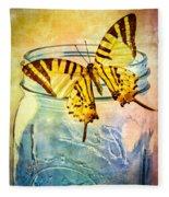 Butterfly Blue Glass Jar Fleece Blanket