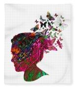 Butterfly Hair Fleece Blanket